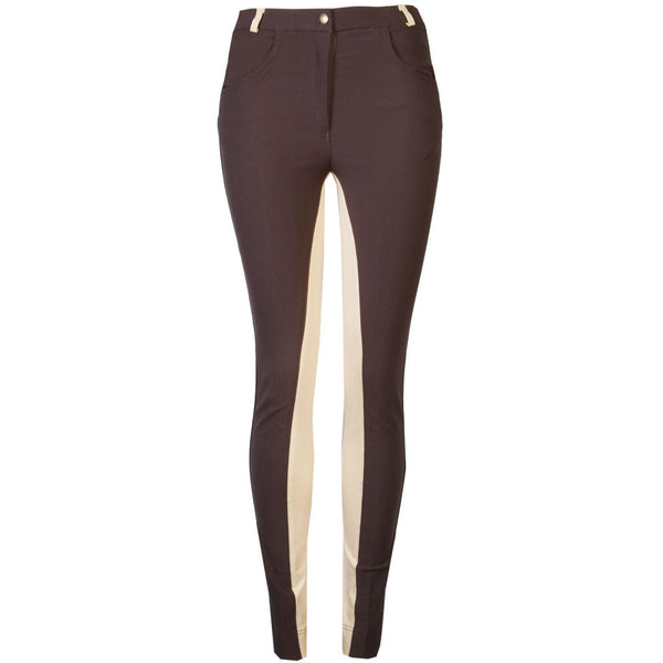 GS Equestrian Ladies Deluxe Micro Jodhpurs, Brown/Beige
