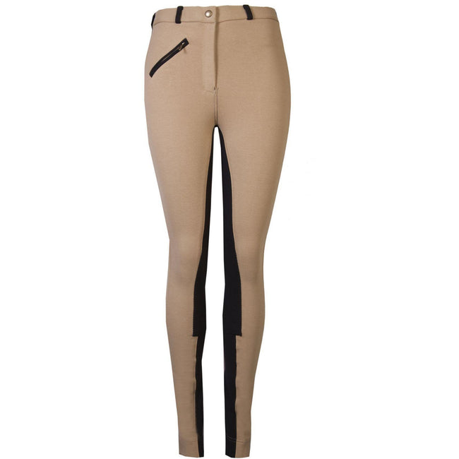 GS Equestrian Ladies Deluxe Two Tone Jodhpurs Beige/Black