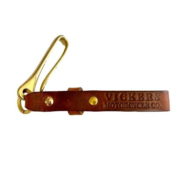Vickers Motorcycle Co. Leather & Brass Key Ring