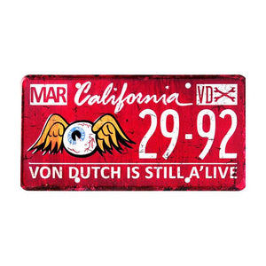 Von Dutch Metal License Plate/Sign