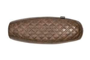 "The ""Essential"" Diamond Stitch. Leather Slim Seat - Brown"