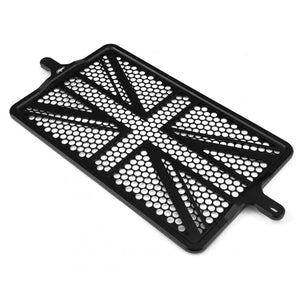 Billet Radiator Guard Kit - Union Jack - Black - For Liquid Cooled Triumphs