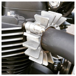 Classic Finned Exhaust Clamps for Liquid Cooled Triumphs