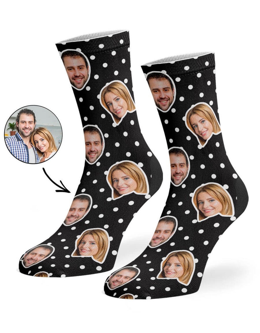 Couples Spotty Face Socks