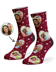 Cute Heart Collage Socks