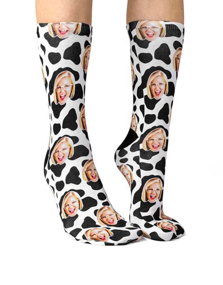 Cow Print Face Socks