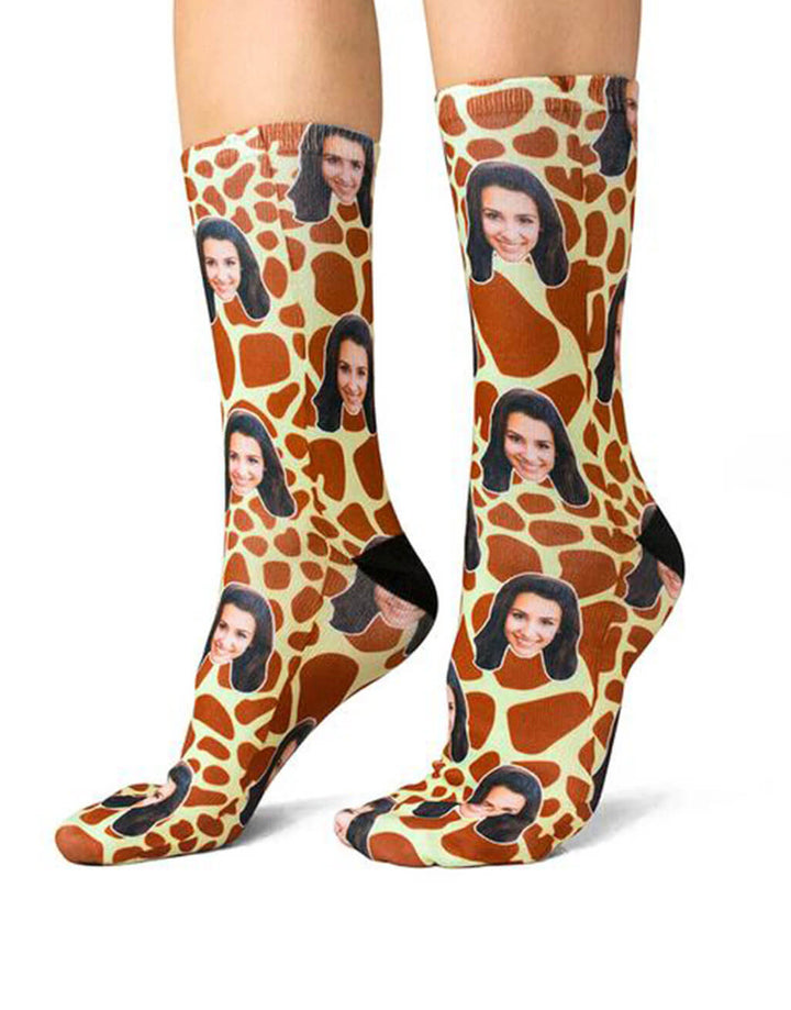 Giraffe Print Face Socks