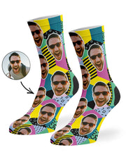 Retro Geo Face Socks