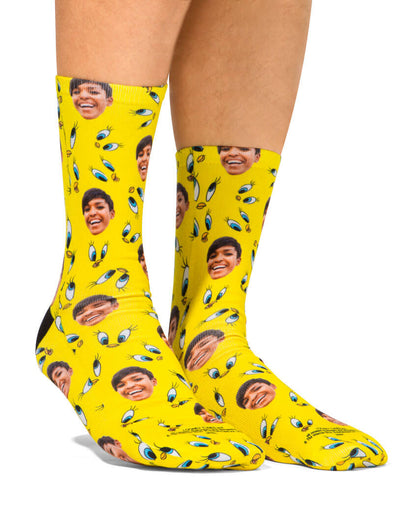 Tweety Bird Face Pattern Looney Tunes Socks