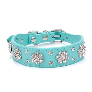 068blue / S Adjustable Leather Cat Collar with Bowknot and Rhinestones For Small Medium Cat