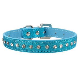 077blue / S Adjustable Leather Cat Collar with Bowknot and Rhinestones For Small Medium Cat