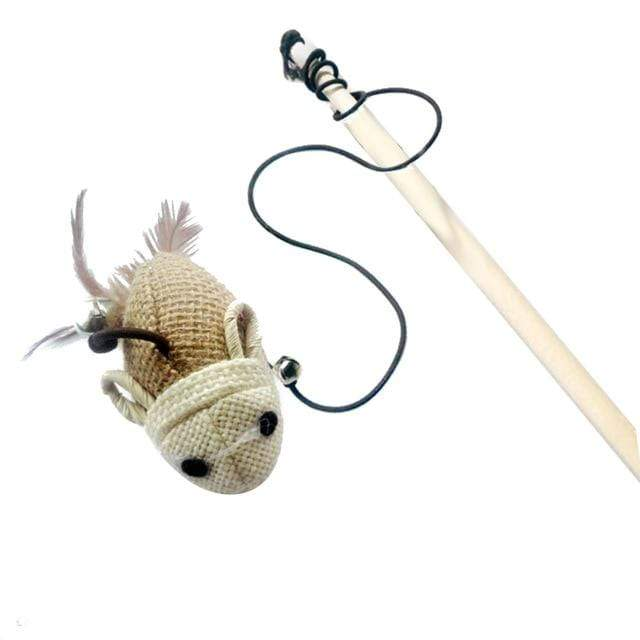 1 40cm Cat Teaser Toy Made of Feather Linen Wand With Mouse Toy And Mini Bell