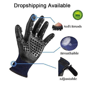 1 Pair Grooming Glove/Hair Remover for Cats made of Soft Rubber for Shedding Bathing Massage
