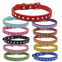 11 Colors Crystal Rhinestone PU Leather Dog Collar and Leash For Small Large Dogs