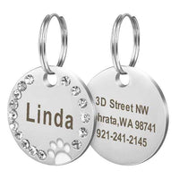11 / Free Size Stainless Steel Engravable Paw ID Tag for Dogs Name on Dog Collar