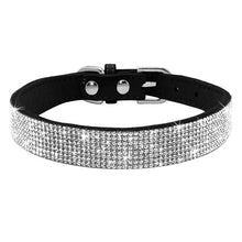 12black / S Adjustable Leather Cat Collar with Bowknot and Rhinestones For Small Medium Cat