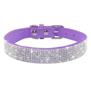 12purple / S Adjustable Leather Cat Collar with Bowknot and Rhinestones For Small Medium Cat