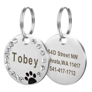 13 / Free Size Custom Dog Tag Engraved Pet Dog Collar Accessories Personalized Cat Puppy ID Tag Stainless Steel Paw Name Tags Pendant Anti-lost