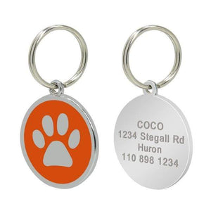 14 / Free Size Custom Dog Tag Engraved Pet Dog Collar Accessories Personalized Cat Puppy ID Tag Stainless Steel Paw Name Tags Pendant Anti-lost