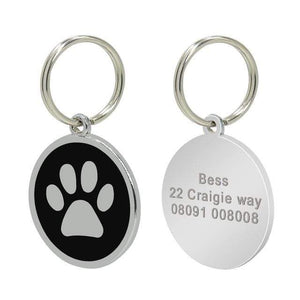 16 / Free Size Stainless Steel Engravable Paw ID Tag for Dogs Name on Dog Collar