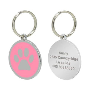 17 / Free Size Stainless Steel Engravable Paw ID Tag for Dogs Name on Dog Collar