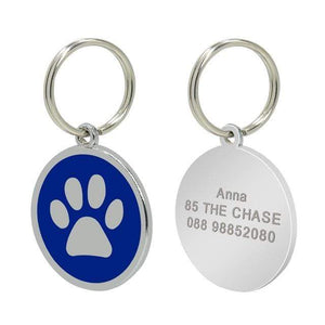 18 / Free Size Stainless Steel Engravable Paw ID Tag for Dogs Name on Dog Collar