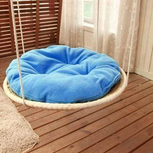 2 / D 50 cm Round Cat Bed made of Straw and Cotton Cloth