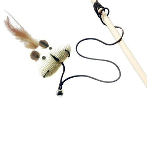 3 40cm Cat Teaser Toy Made of Feather Linen Wand With Mouse Toy And Mini Bell