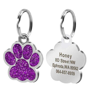 4 / Free Size Custom Dog Tag Engraved Pet Dog Collar Accessories Personalized Cat Puppy ID Tag Stainless Steel Paw Name Tags Pendant Anti-lost