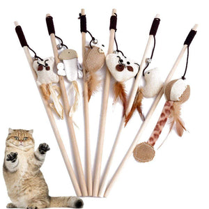 40cm Pet Cat Teaser Toys Feather Linen Wand Cat Catcher Teaser Stick Cat Interactive Toys Wood Rod Mouse Toy With Mini Bell