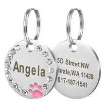 8 / Free Size Stainless Steel Engravable Paw ID Tag for Dogs Name on Dog Collar