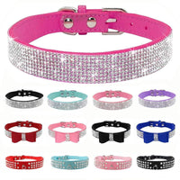 Adjustable Leather Cat Collar with Bowknot and Rhinestones For Small Medium Cat