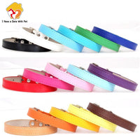 Adjustable Soft Leather Dog Collar for Small Medium Large Dog 16 Colors