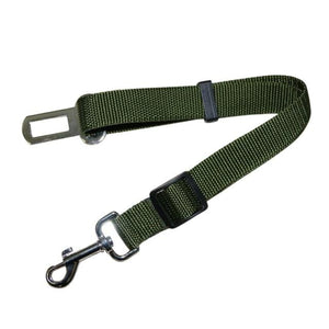 Army Green / Free Size Seat Belt with Safety Lever Clip for Car for Dogs