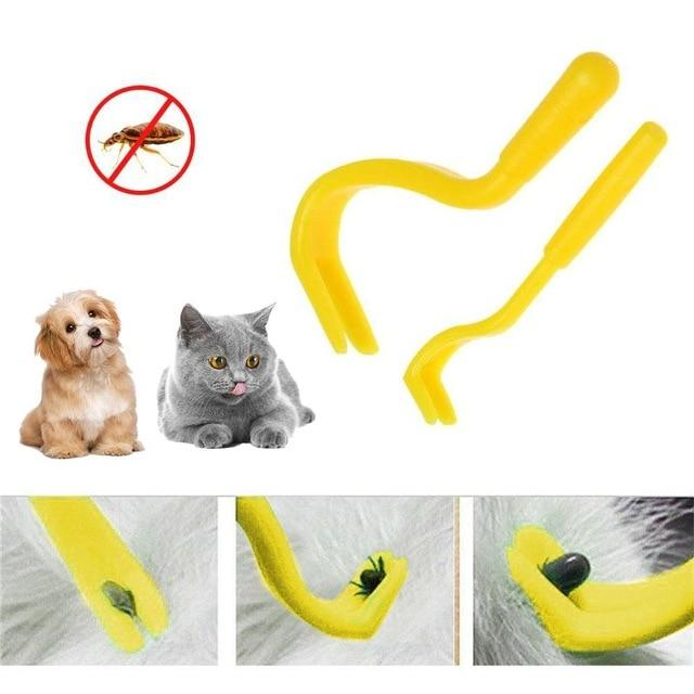 B 2 pcs Pets Tick Removal Tool with Dual Teeth/Fork/Twist Hook for Dogs
