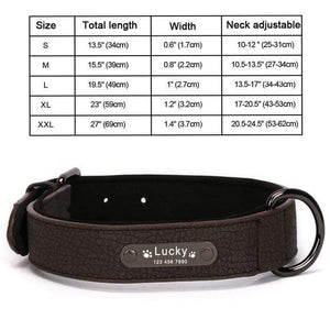 Black Collar / S 8 Colors Personalized Leather Dog Collar for Pitbull Pug