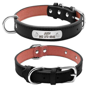 black / L Durable Padded PU Leather Dog Collar with Customized ID Tag for Small Medium Large Dog