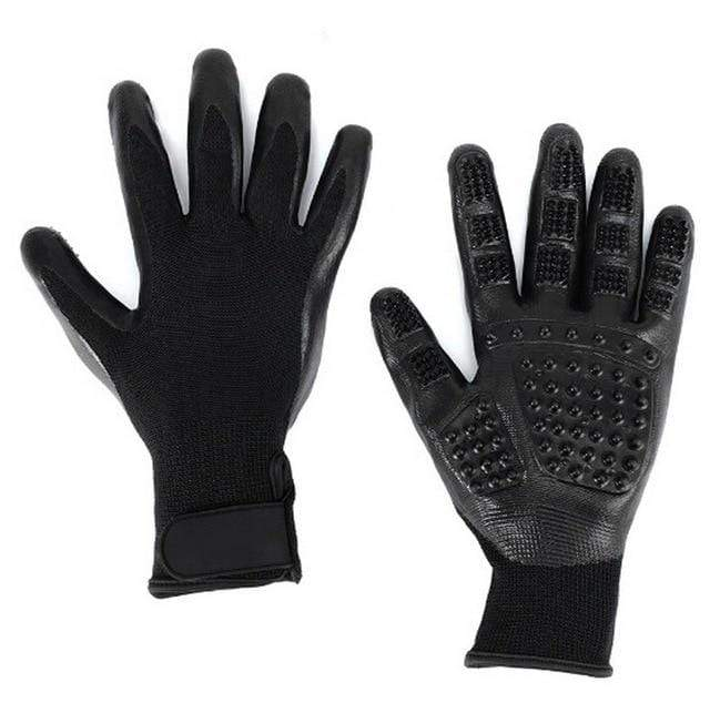 Black / M 1 Pair Grooming Glove/Hair Remover for Cats made of Soft Rubber for Shedding Bathing Massage