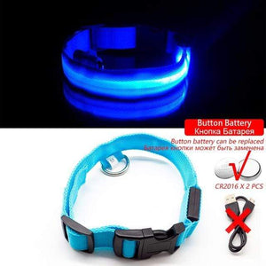 Blue Button Battery / XL NECK 52-60 CM Anti-lost/Avoid Car Accident All Seasons Striped USB Charging LED Dog Collar For Dog