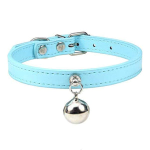 Blue Cat Collar / S2 Solid Leather Cat Collar With Bell in sizes XS/S/M, 16 colors