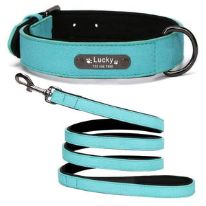 Blue Collar Leash / S 8 Colors Personalized Leather Dog Collar for Pitbull Pug