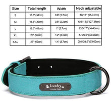 Blue Collar / S 8 Colors Personalized Leather Dog Collar for Pitbull Pug