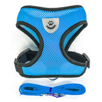 blue / L Breathable Small Dog Collar/Harness and Leash Set For Chihuahua Pug Bulldog