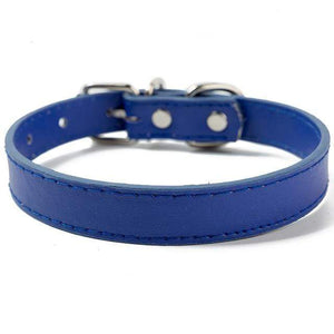 Blue / XXS PU Leather Cat Collar in a Solid Pattern for Cat Kitten with Adjustable Strap