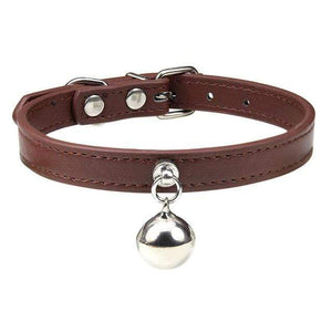 Brown Cat Collar / S1 Solid Leather Cat Collar With Bell in sizes XS/S/M, 16 colors