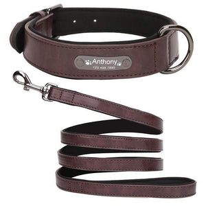 Brown Collar Leash / S 8 Colors Personalized Leather Dog Collar for Pitbull Pug