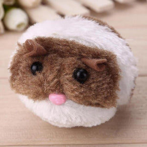 Brown Winding Interactive Plush Fur Snailhouse Mouse Cat Toy with Shake Movement