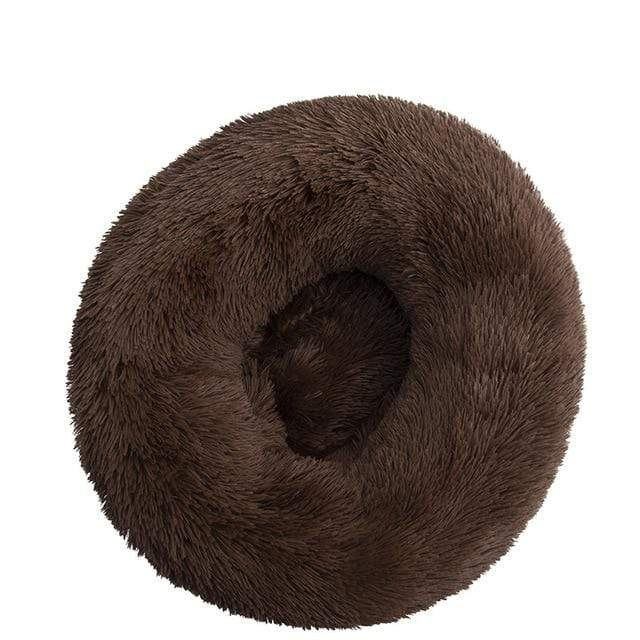 Coffee / S-50CM / China Round Long Plush Winter Dog Beds for Large Dogs
