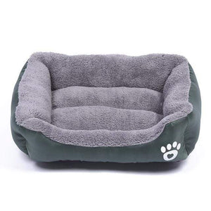 Dark-Green / M Large Waterproof Warm Cozy Soft Fleece Dog Bed 8 Colors