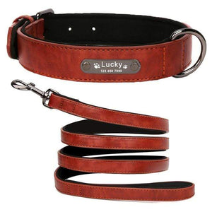 DarkRed Collar Leash / M 8 Colors Personalized Leather Dog Collar for Pitbull Pug